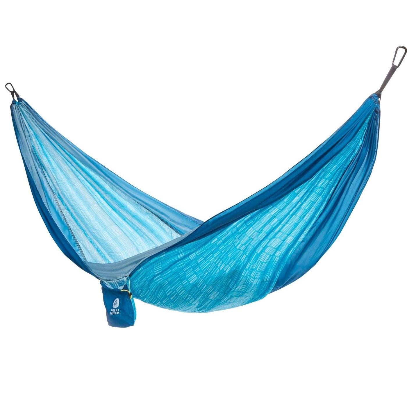 A light blue hammock