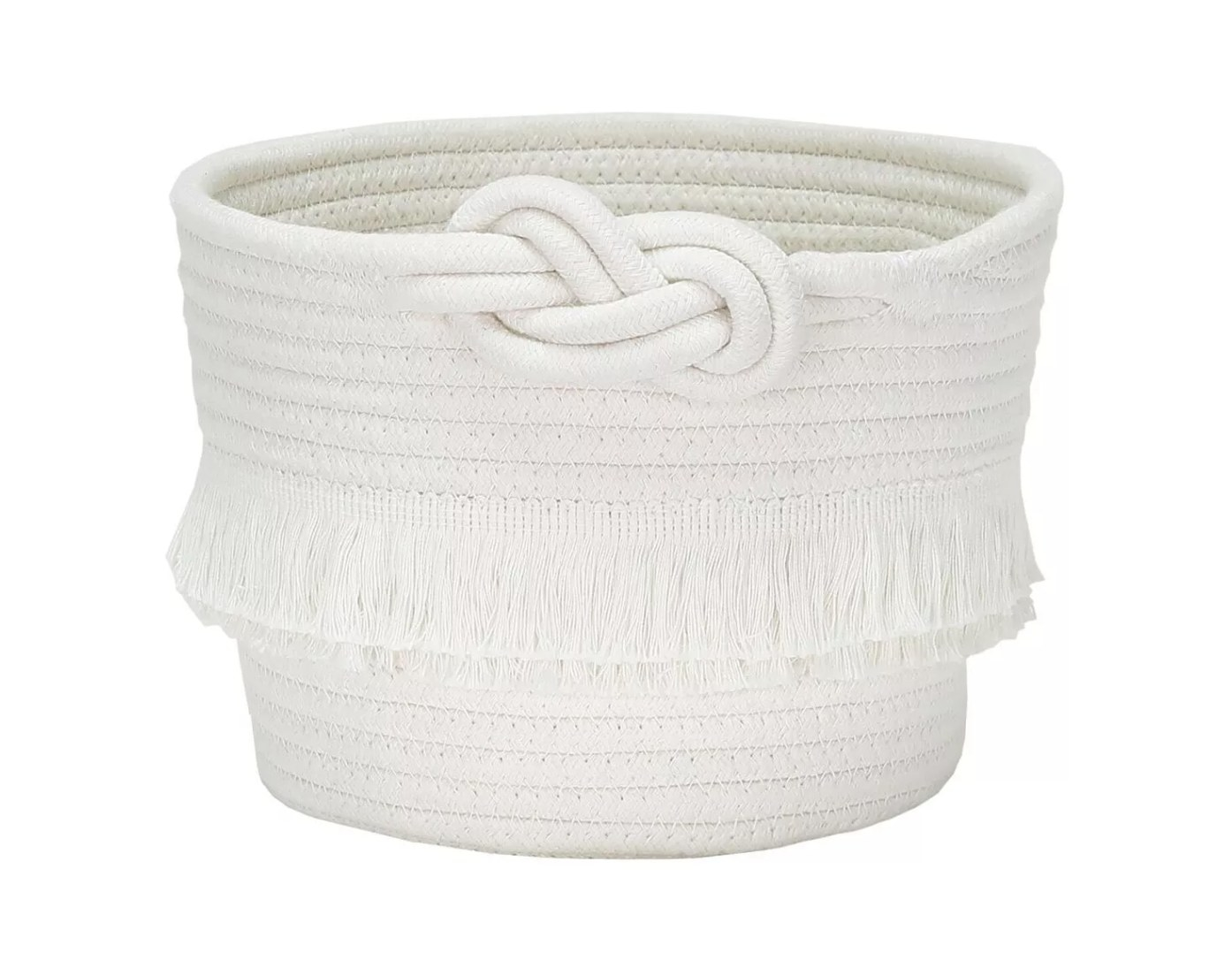 A white storage basket with an ornamental rope knot