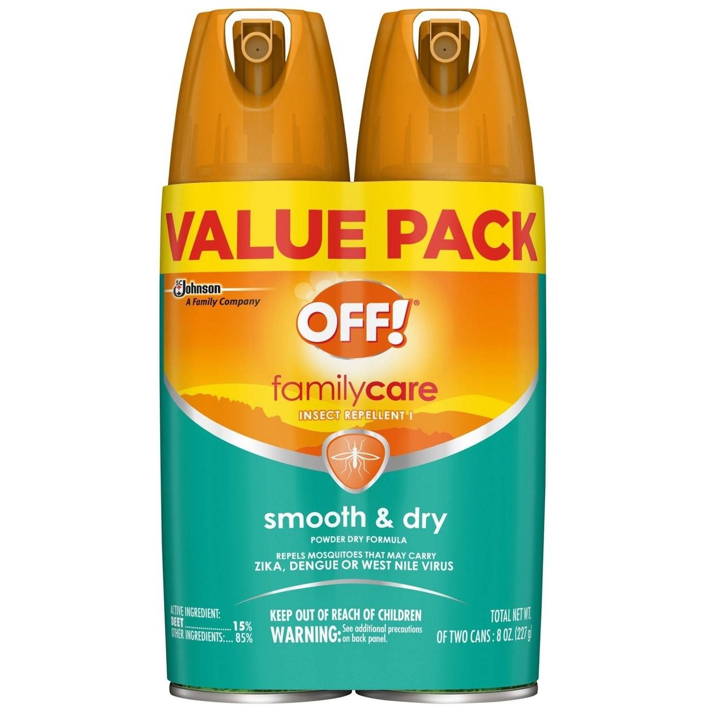 Teal and orange Off! bug spray packaging