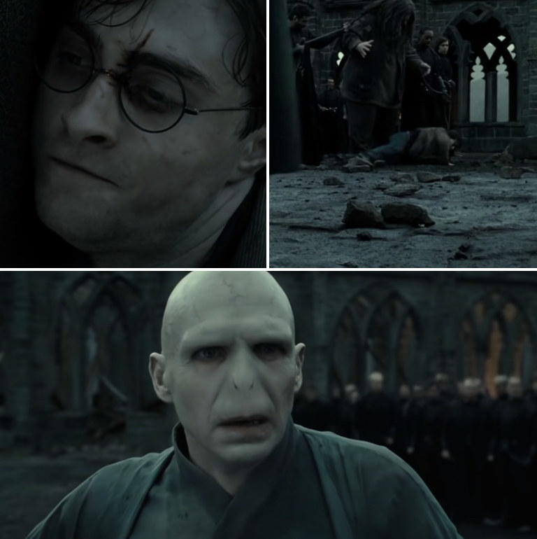 """Voldemort absolutely shocked when he sees a supposedly """"dead"""" Harry fall out of Hagrid's arms"""