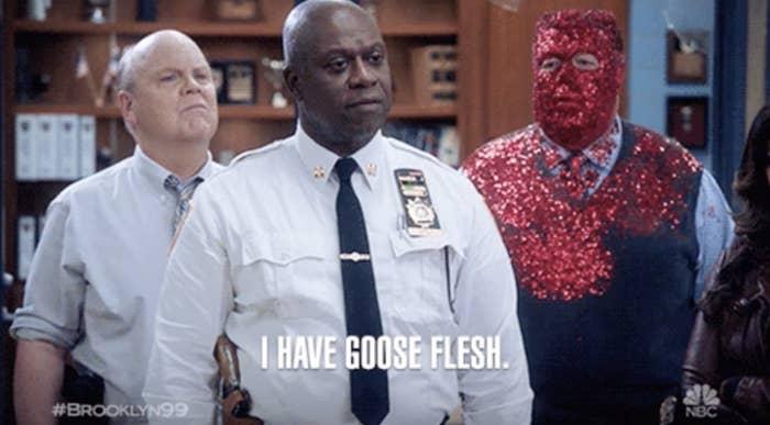 Captain Holt expressing he has goosebumps in a robotic way