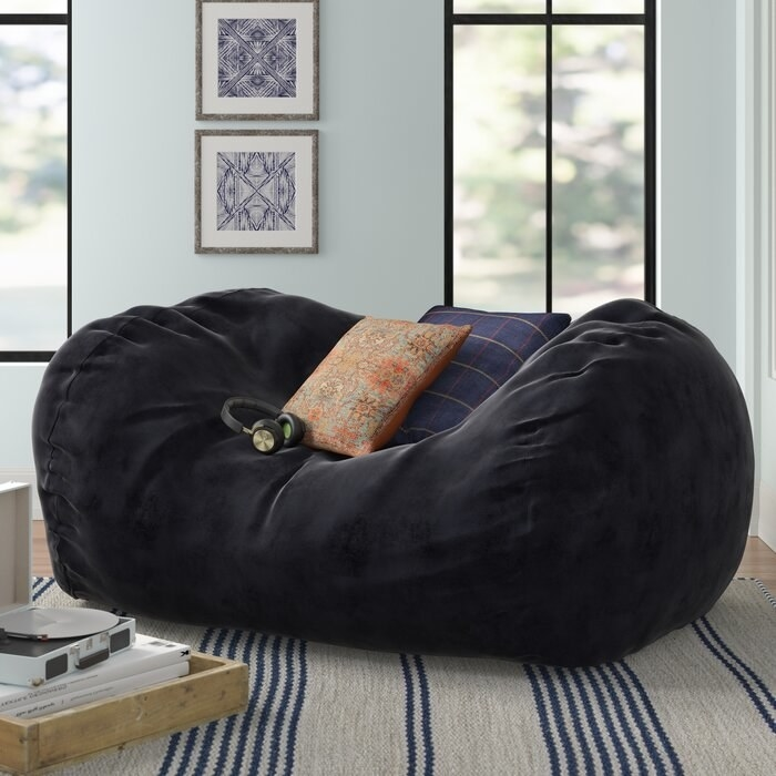 Large bean bag sofa in black