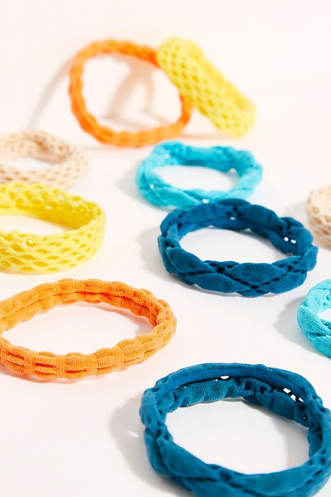woven hair ties in an array of bright colors