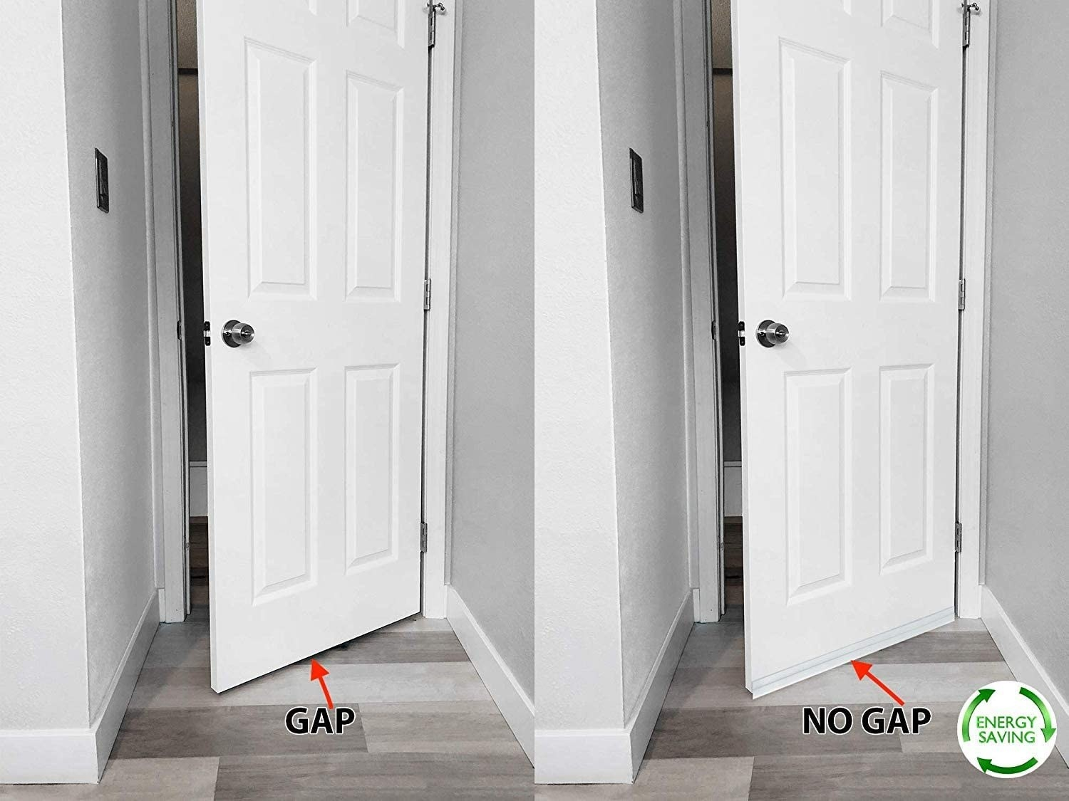 A before image of a open door with a gap at the bottom between the door and the floor and an after image of a thick sticker covering the gap