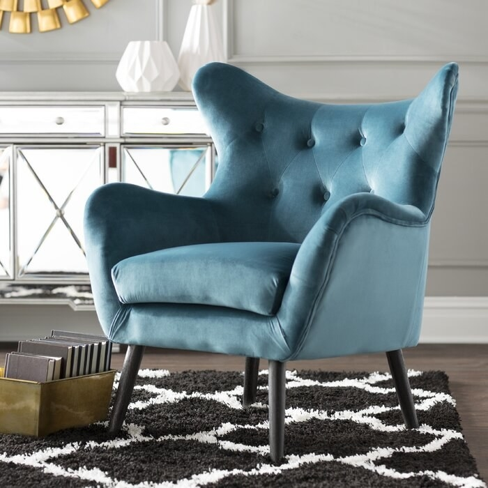Bouck wingback chair in velvet dark chair