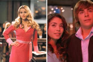 Reese Witherspoon poses on a courtroom table and Zac Efron and Vanessa Hudgens look out into the stars