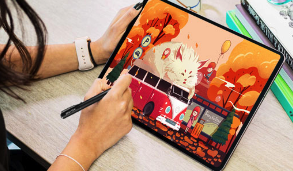 A person draws using a stylus