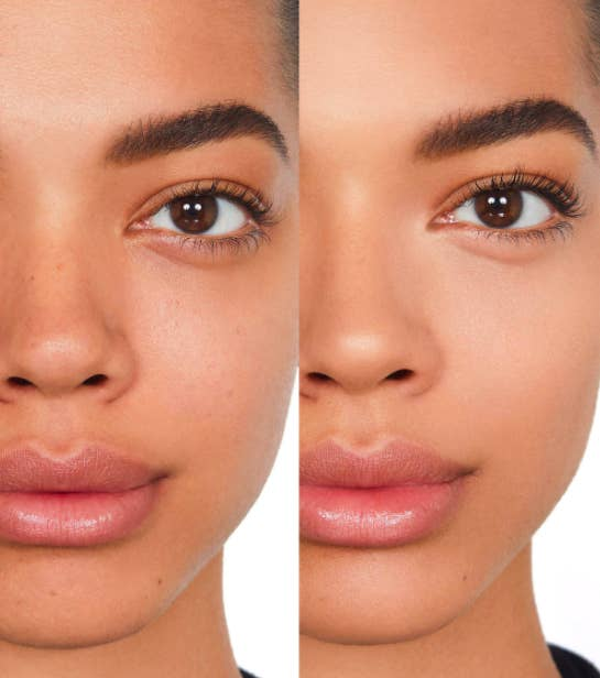 Side by side image of one model before and after applying NARS sheer foundation