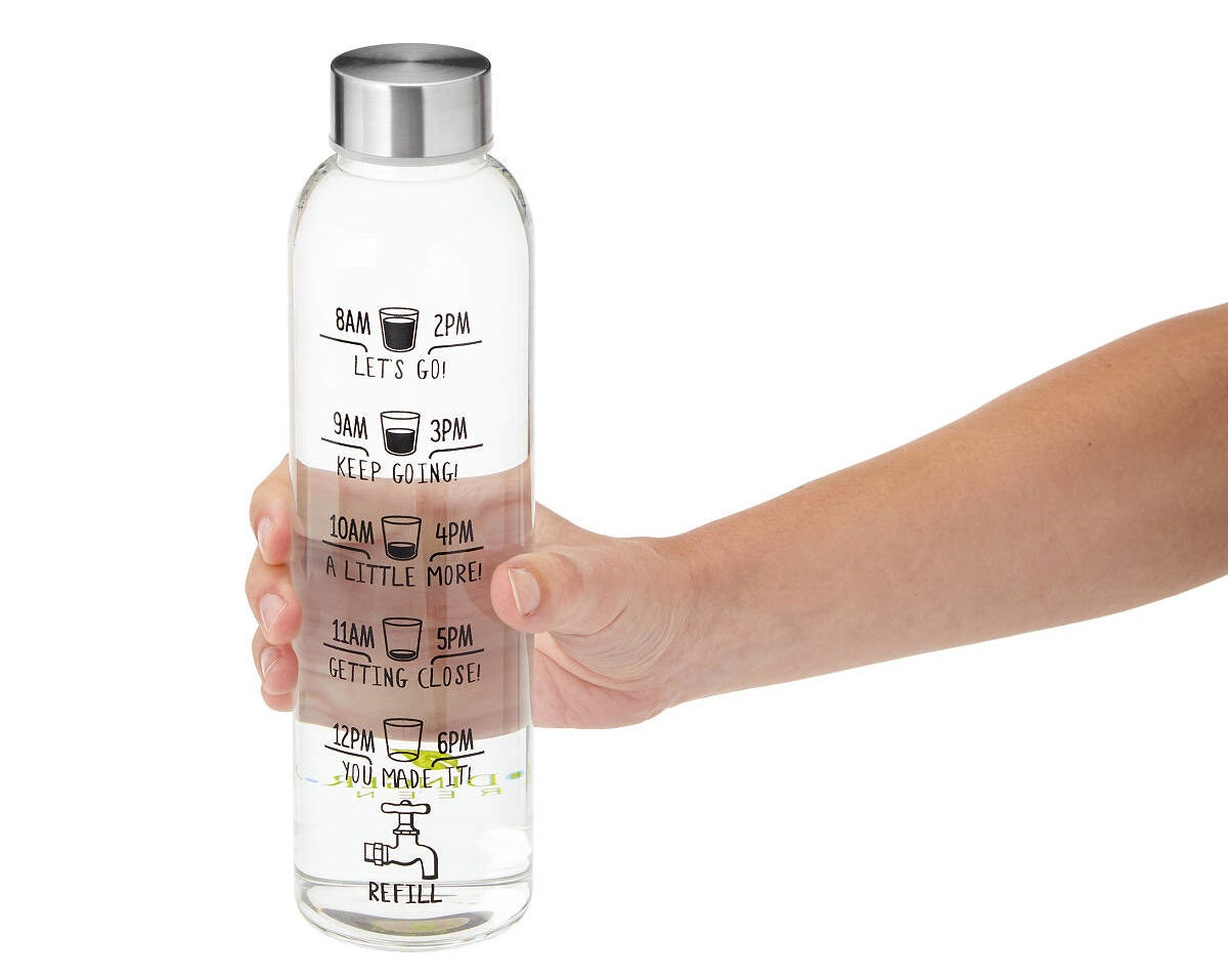 The glass bottle, featuring cute graphics and inspirational messages