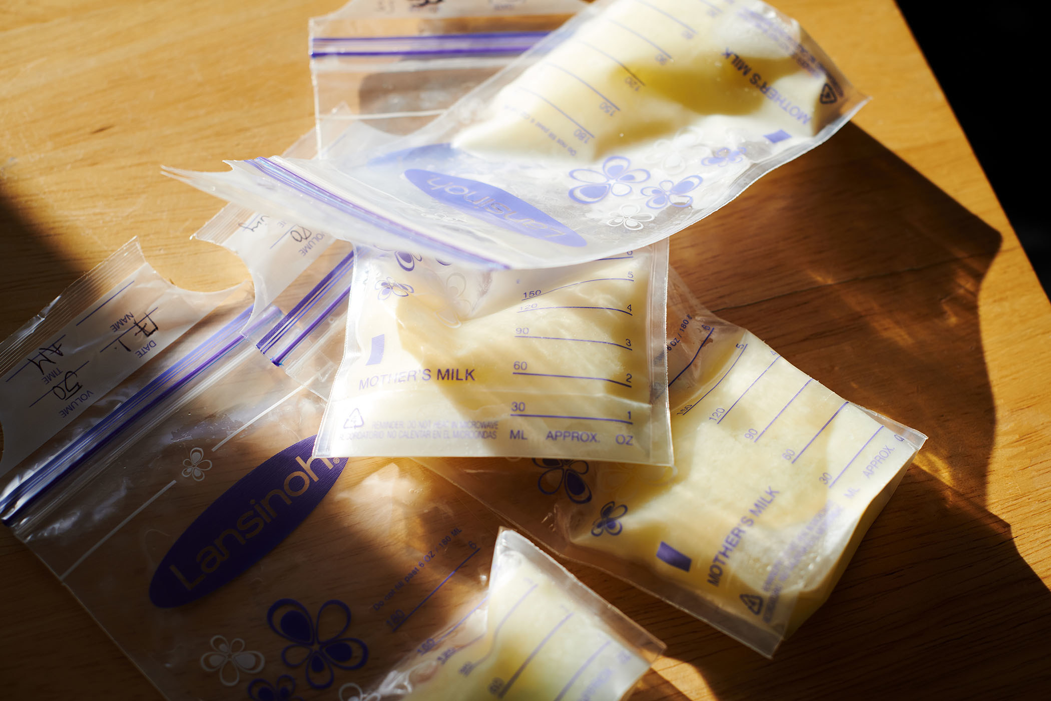 Breastmilk stored in bags