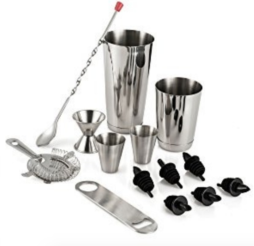 a silver cocktail making kit