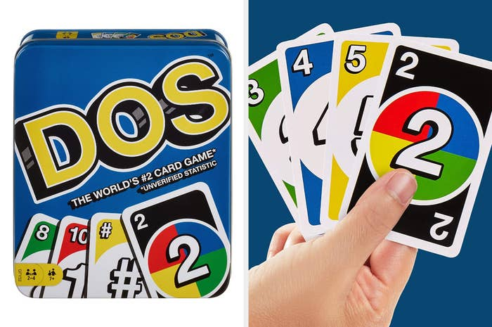 A split image of a blue tin containing the Dos card game and a hand holding four cards