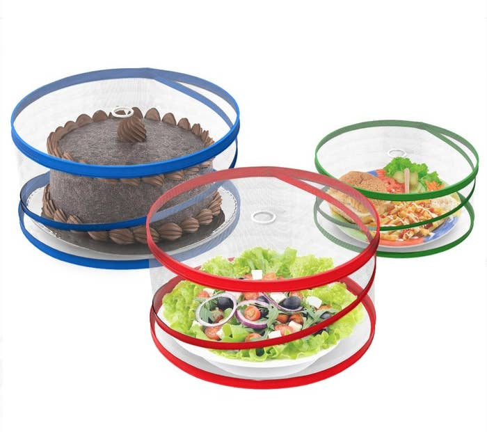 three netted food covers