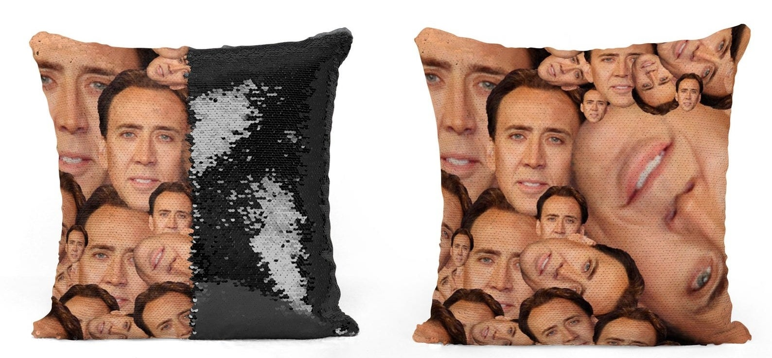 Pillow with a collage of Nicolas Cage faces that are hidden by sequins until brushed the opposite direction