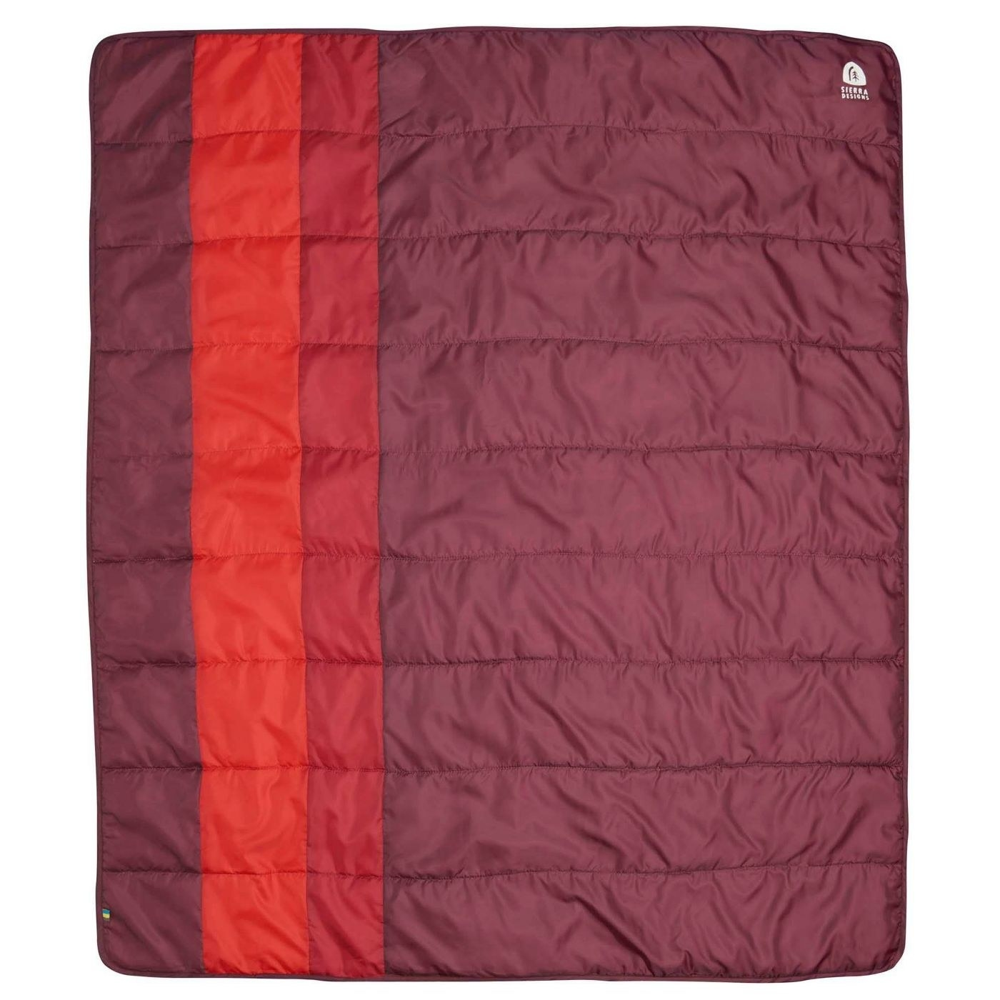 A maroon quilt with two different red stripes