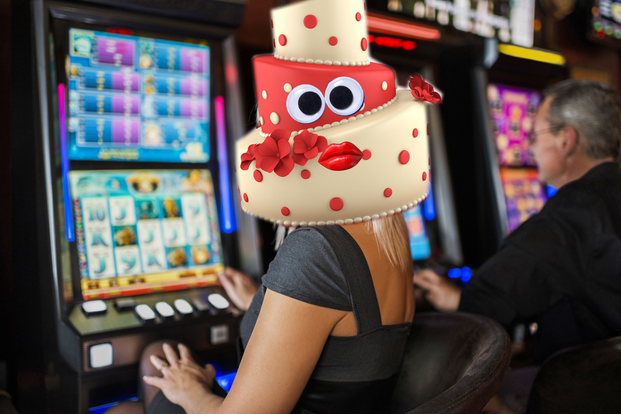 Person with a cake for a head plays a slot game