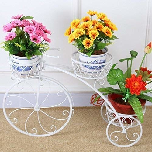 A white tricycle shaped pot holder with plants