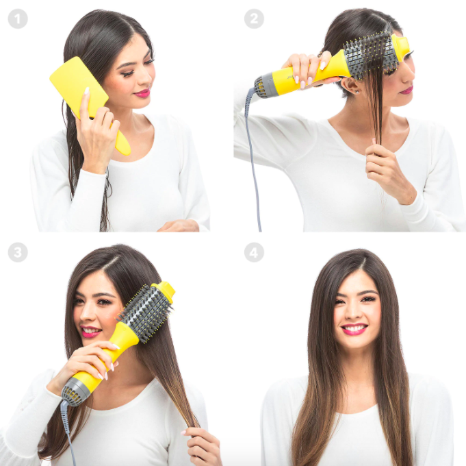 A series of four photos where a model uses the Drybar blow-dryer brush on her wet hair