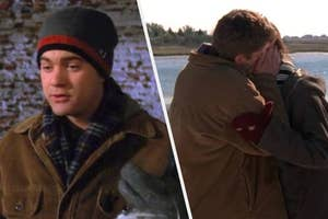 Pacey holding a paint can side-by-side with Pacey and Joey kissing.