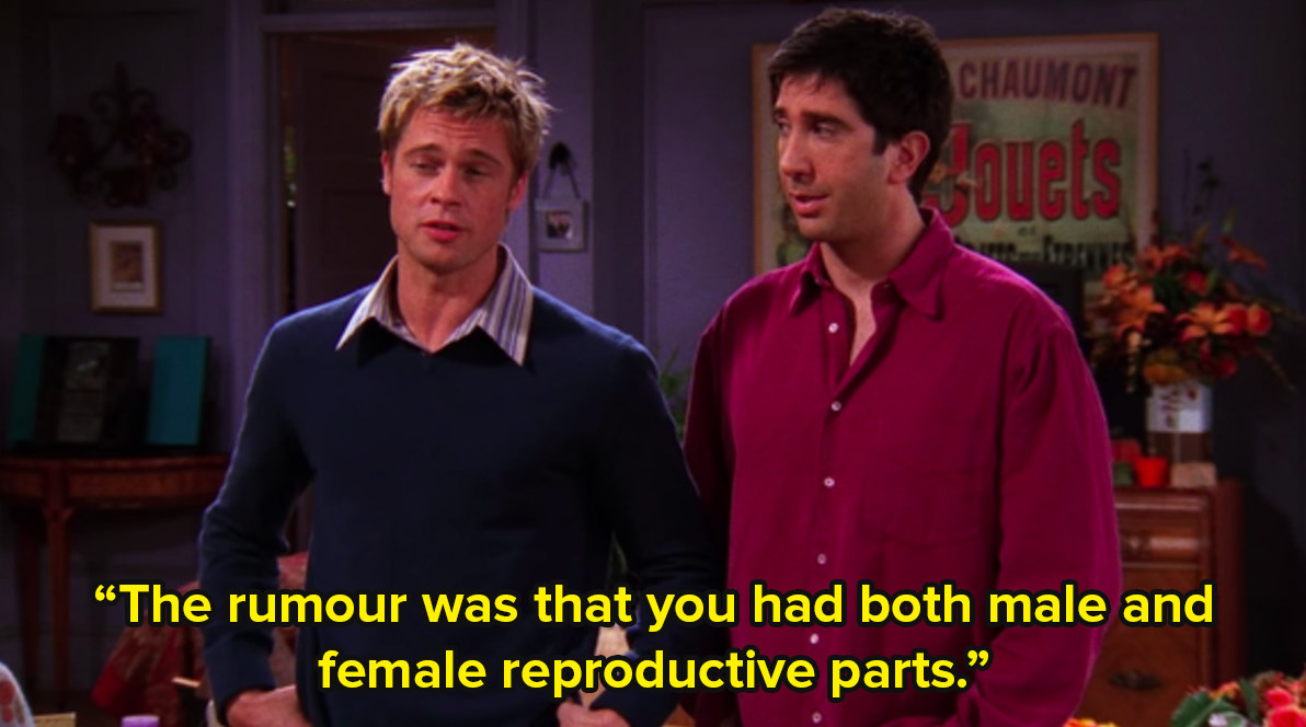 Ross and Will from Friends, played by Brad Pitt, stand in the middle of Monica's apartment and say the rumour was that you had both male and female reproductive parts