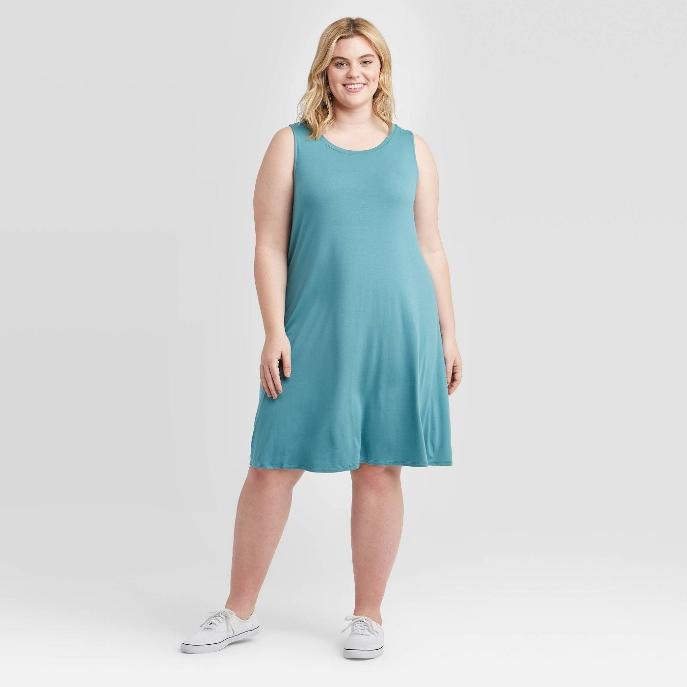 model wearing midi blue tank dress