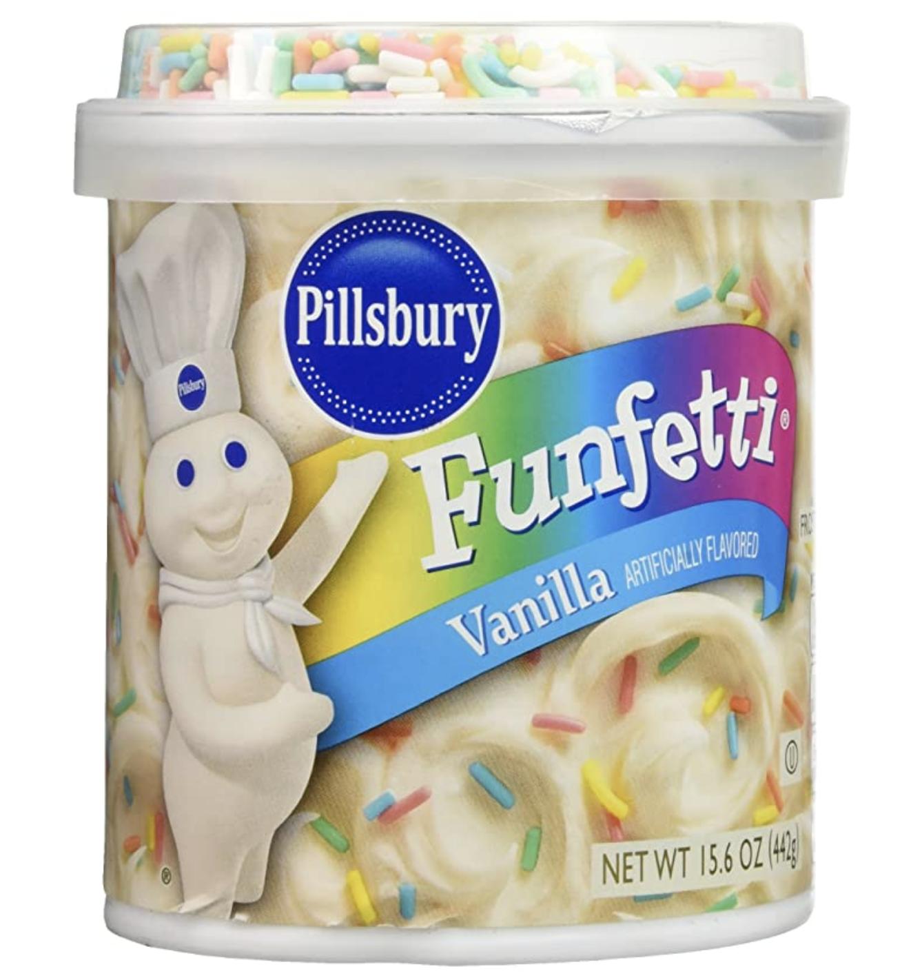 A jar of Pillsbury Funfetti frosting