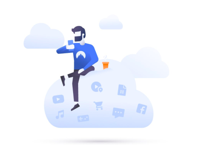 illustrated man sits in cloud