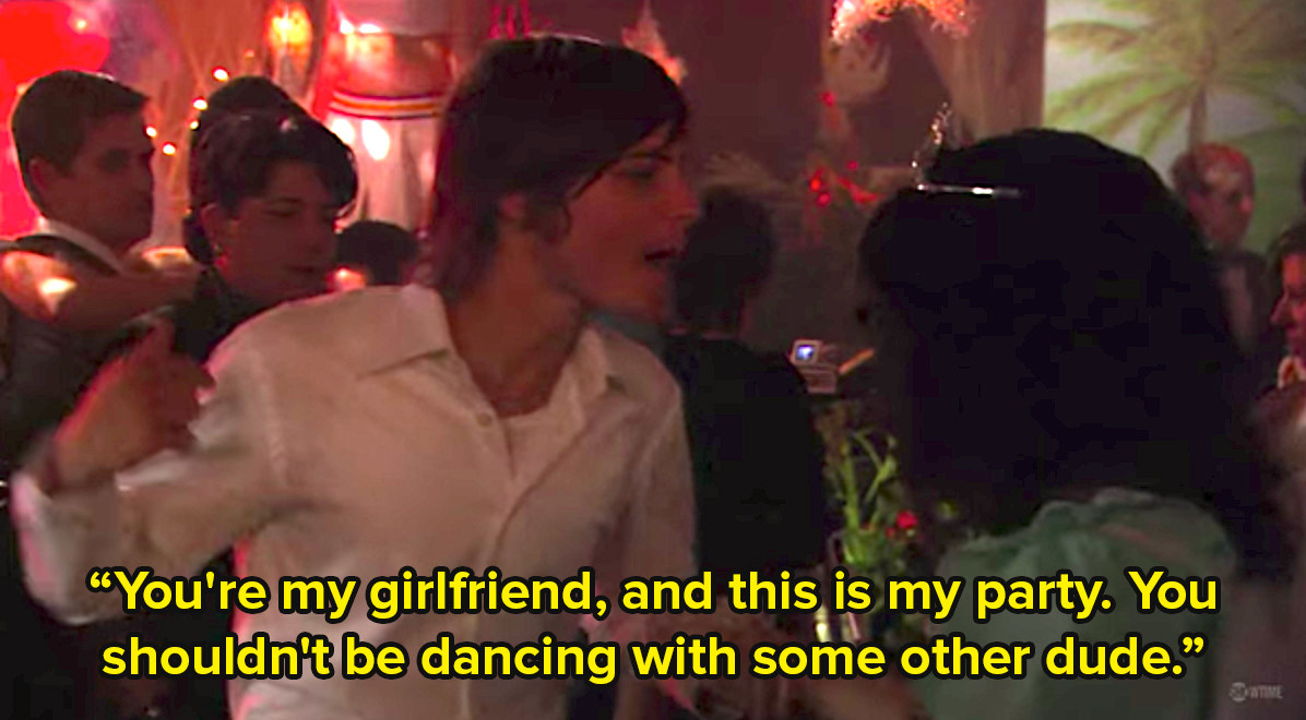 A trans man grabs a woman's arm at a party and says you're my girlfriend and this is my party, you shouldn't be dancing with some other dude