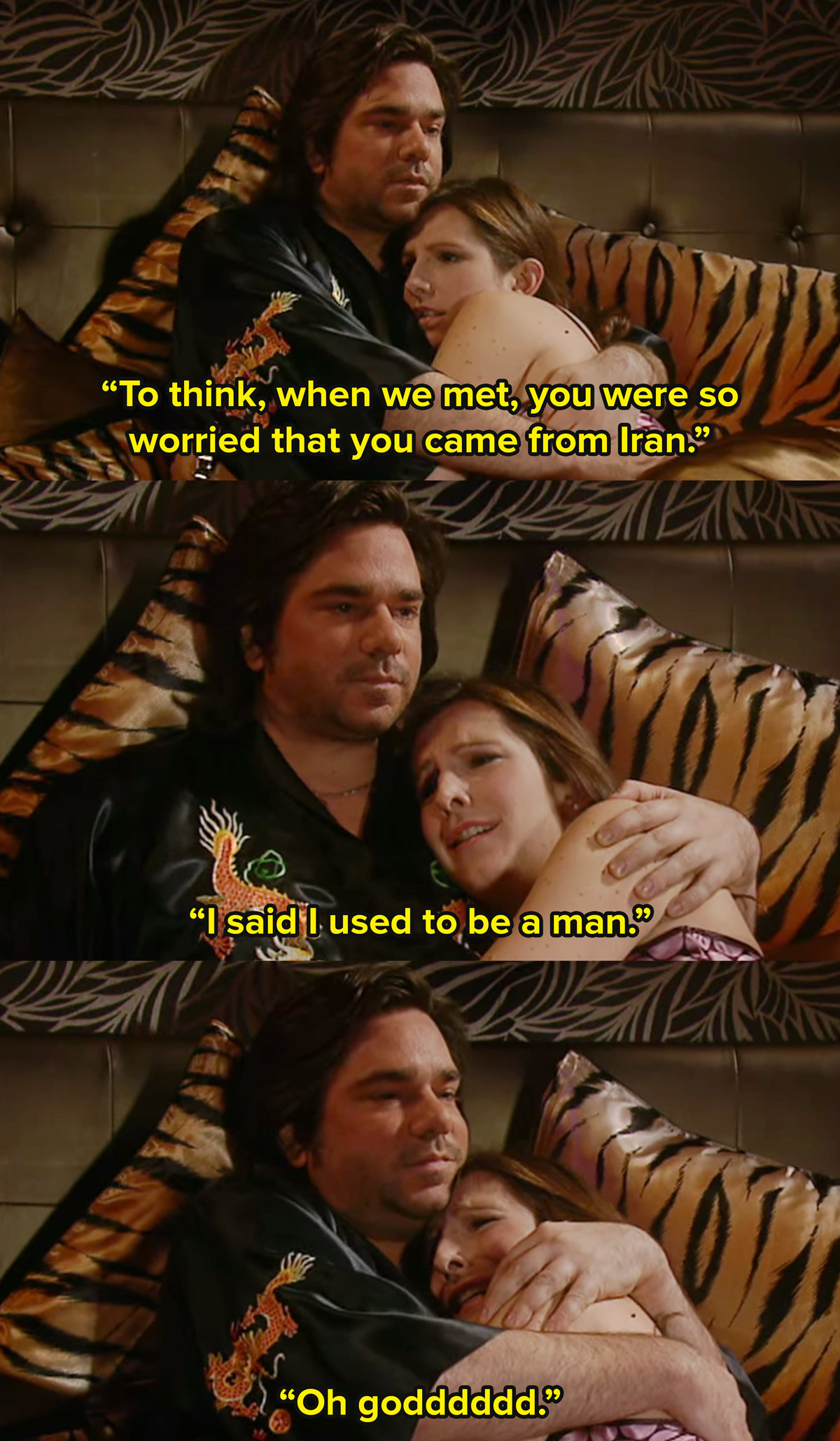 Douglas from The IT Crowd lies in bed with a woman named April and hugs her. He says to think you worried when we met you were from Iran. She says no, I said I used to be a man and he replies oh God