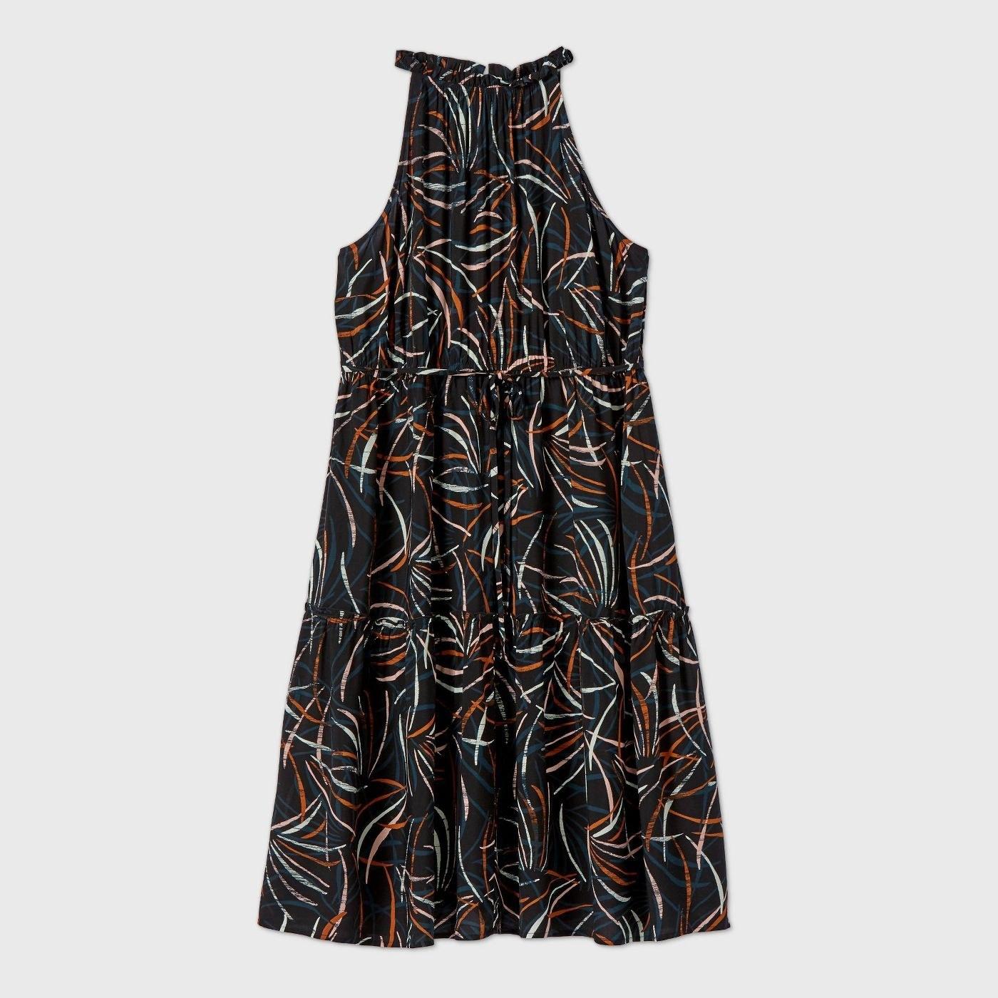 the black high neck dress