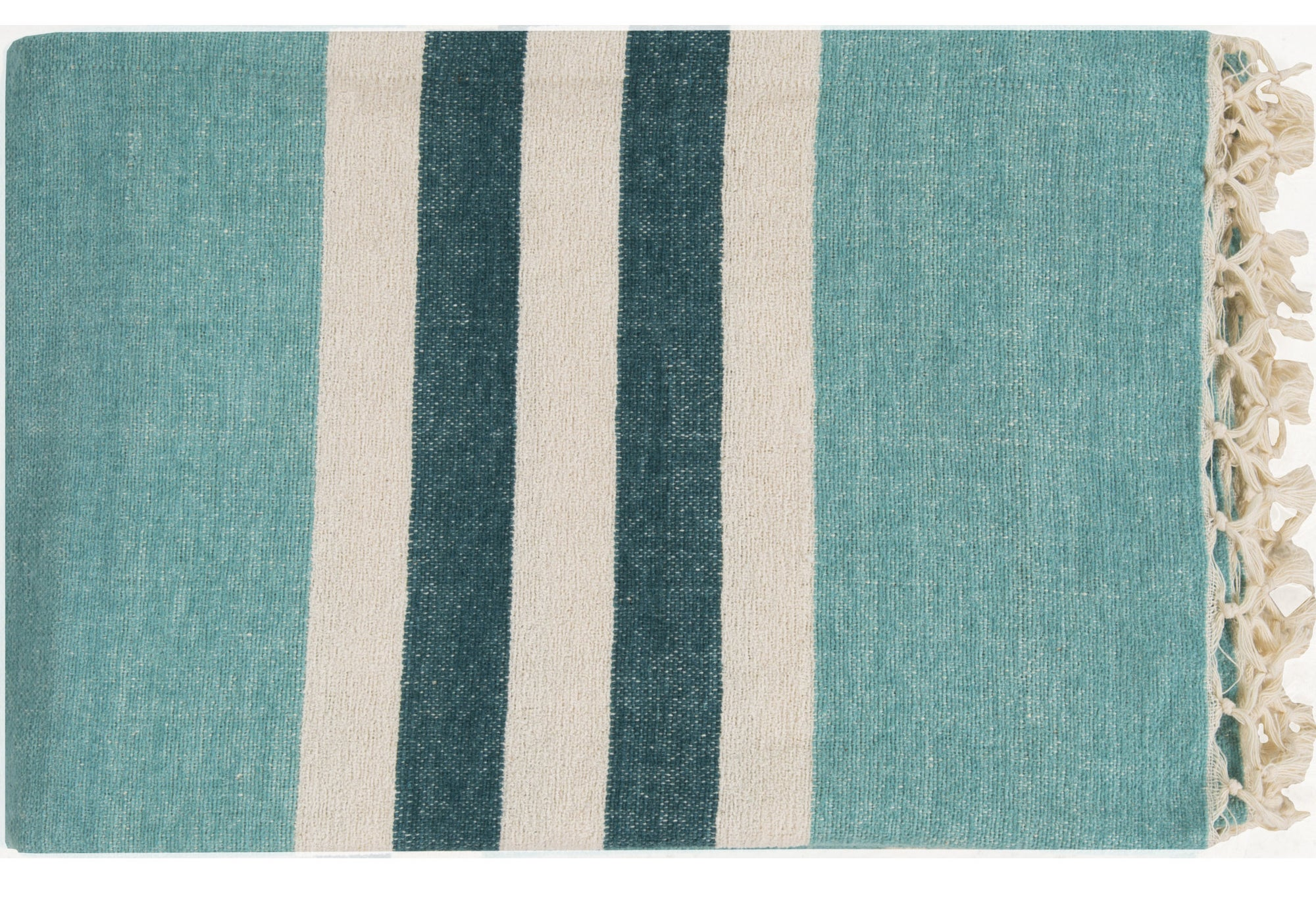 a teal blue throw with white and darker blue stripes in a middle section and tan fringe on the ends