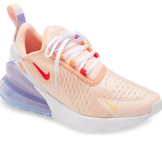 Nike Air Max 270 Premium Sneaker in Washed Coral/Track Red-White Colorway