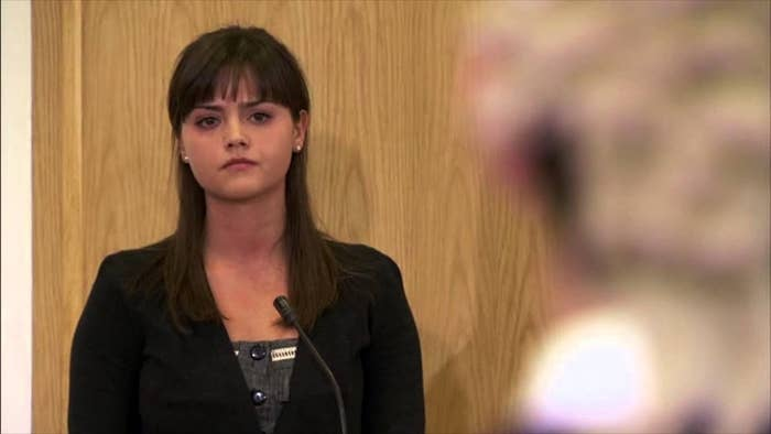 Close up of Lindsay in the courtroom