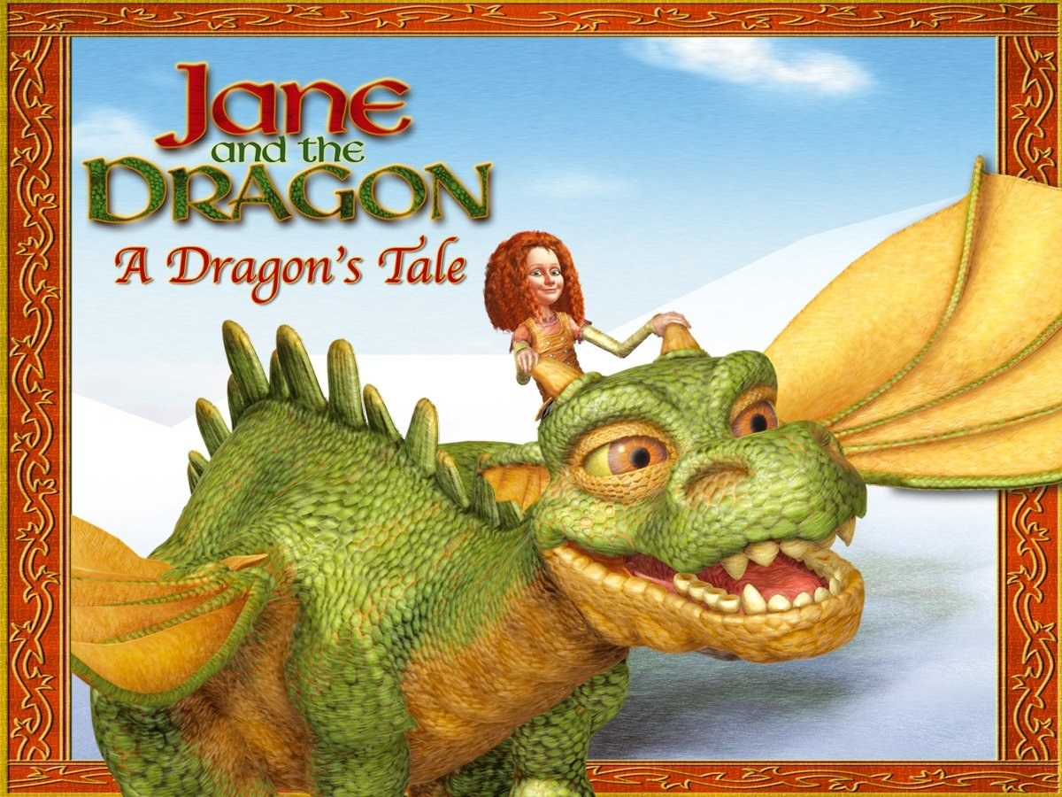 A red-headed girl rising a giant, smiling dragon