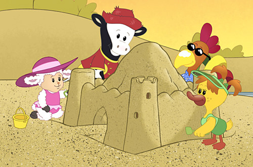 A group of barn animals making a sandcastle