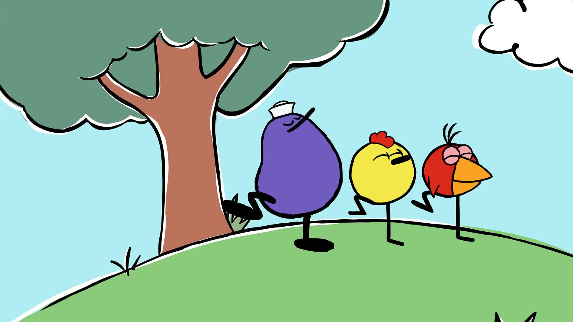 Three circular cartoon birds enjoying a day outside
