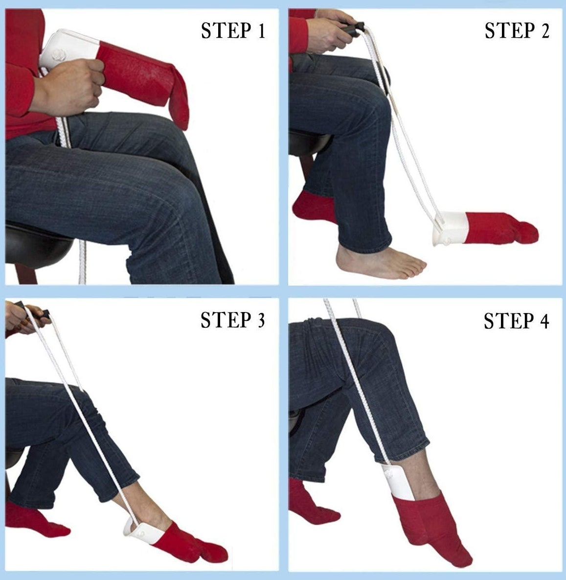 four steps of person using the curved piece of plastic with ropes attached to slip on a sock