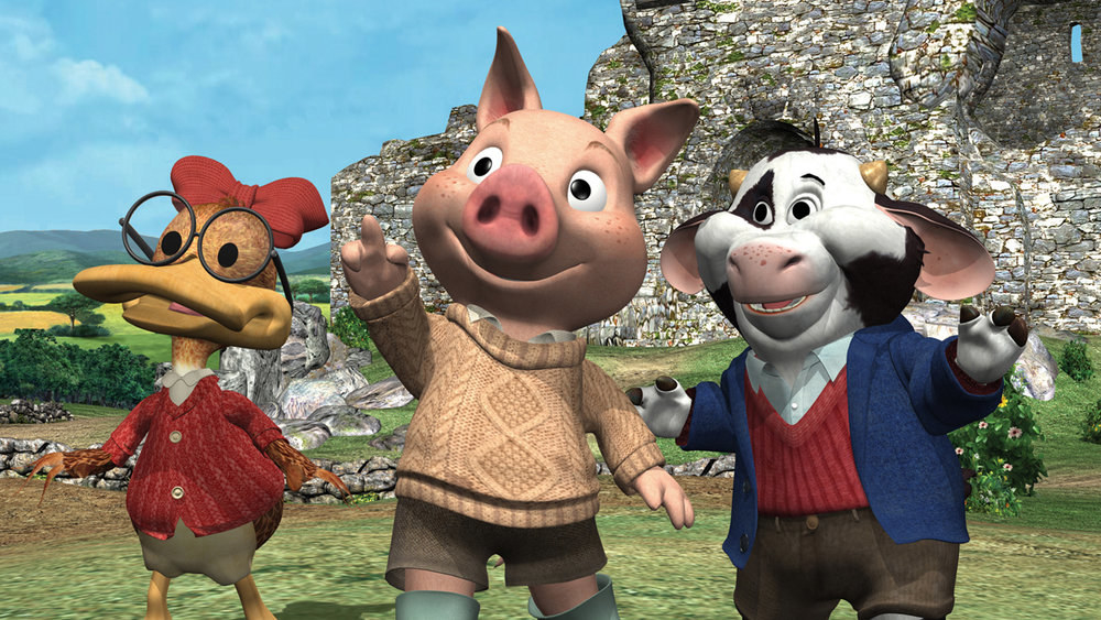 A duck, a pig, and a cow (all Irish) just enjoying the irish countryside while wearing clothes