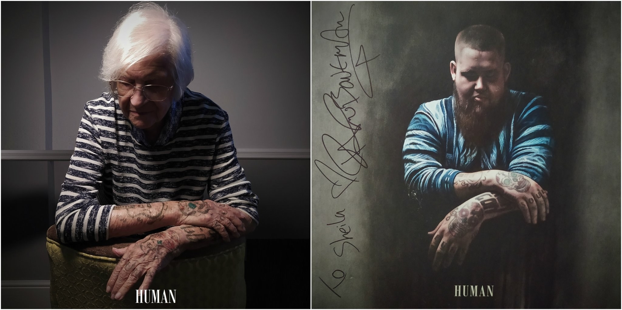 An elderly woman recreating Rag'n'Bone Man's Human album cover