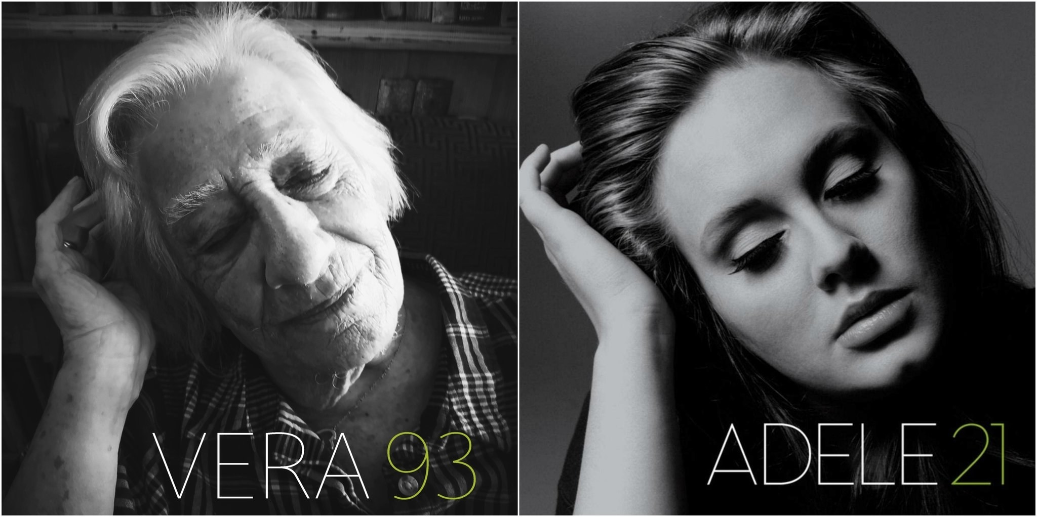 An elderly woman recreating Adele's 21 album cover