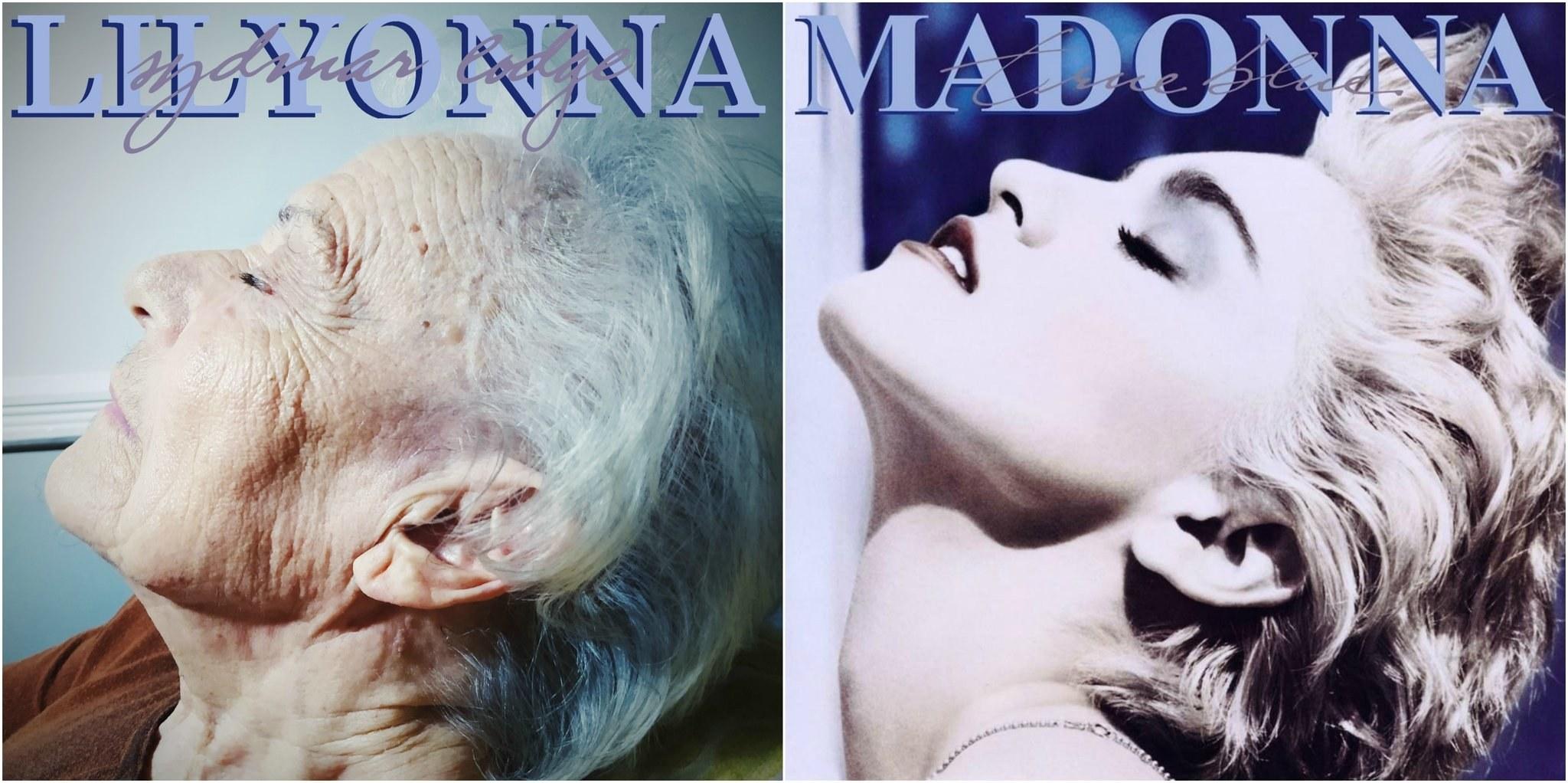 An elderly woman recreating Madonna's Love Blind album cover