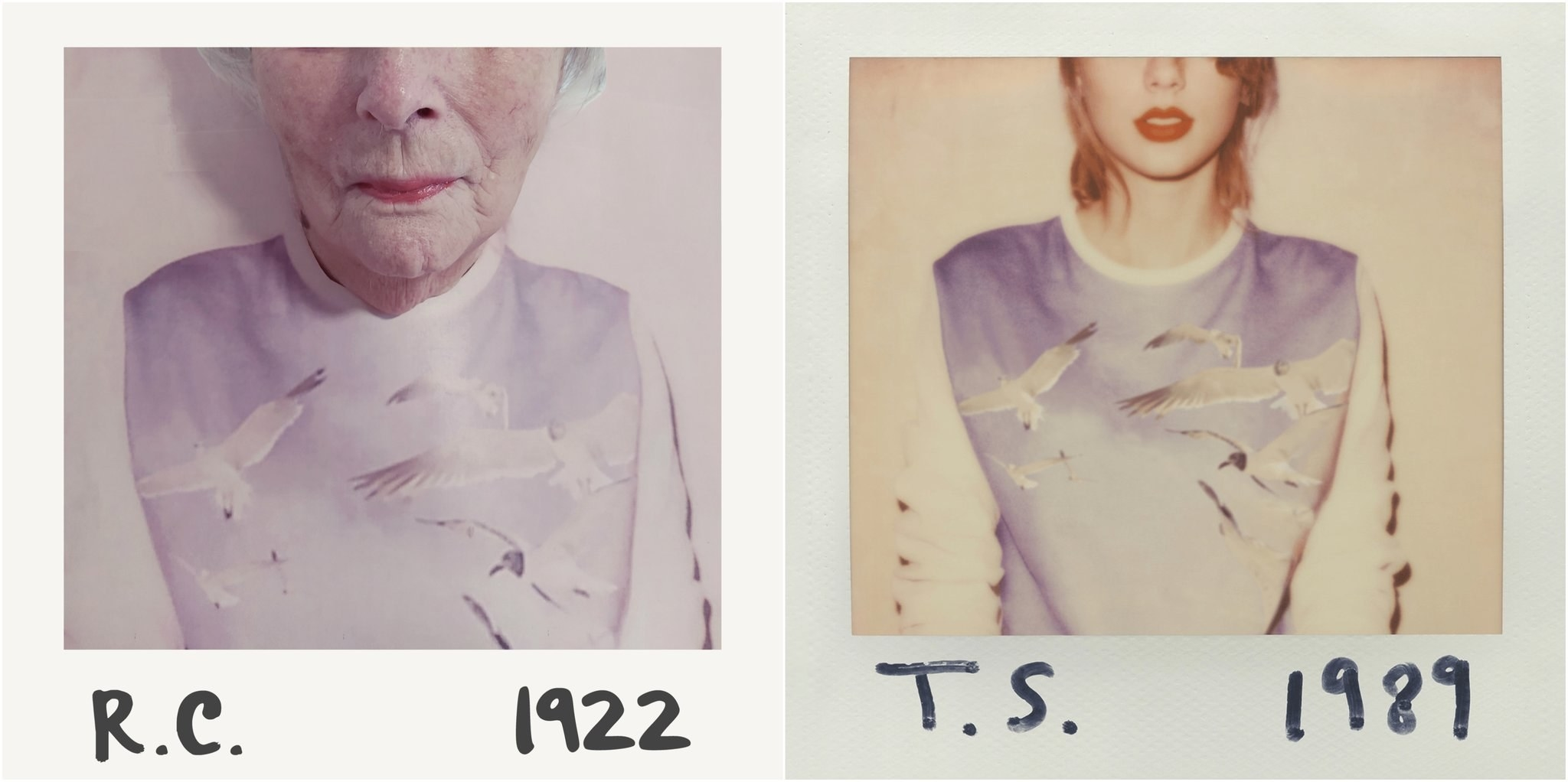 An elderly woman recreating Taylor Swift's 1989 album cover