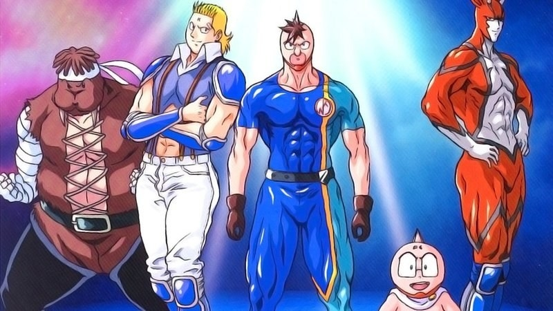 A group of anime characters in wrestling outfits
