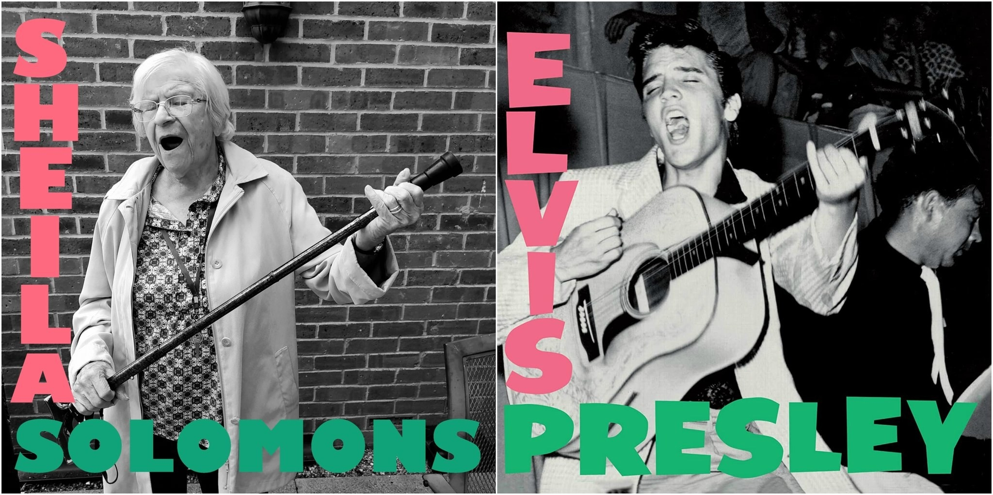 An elderly woman recreating Elvis' self titled album cover