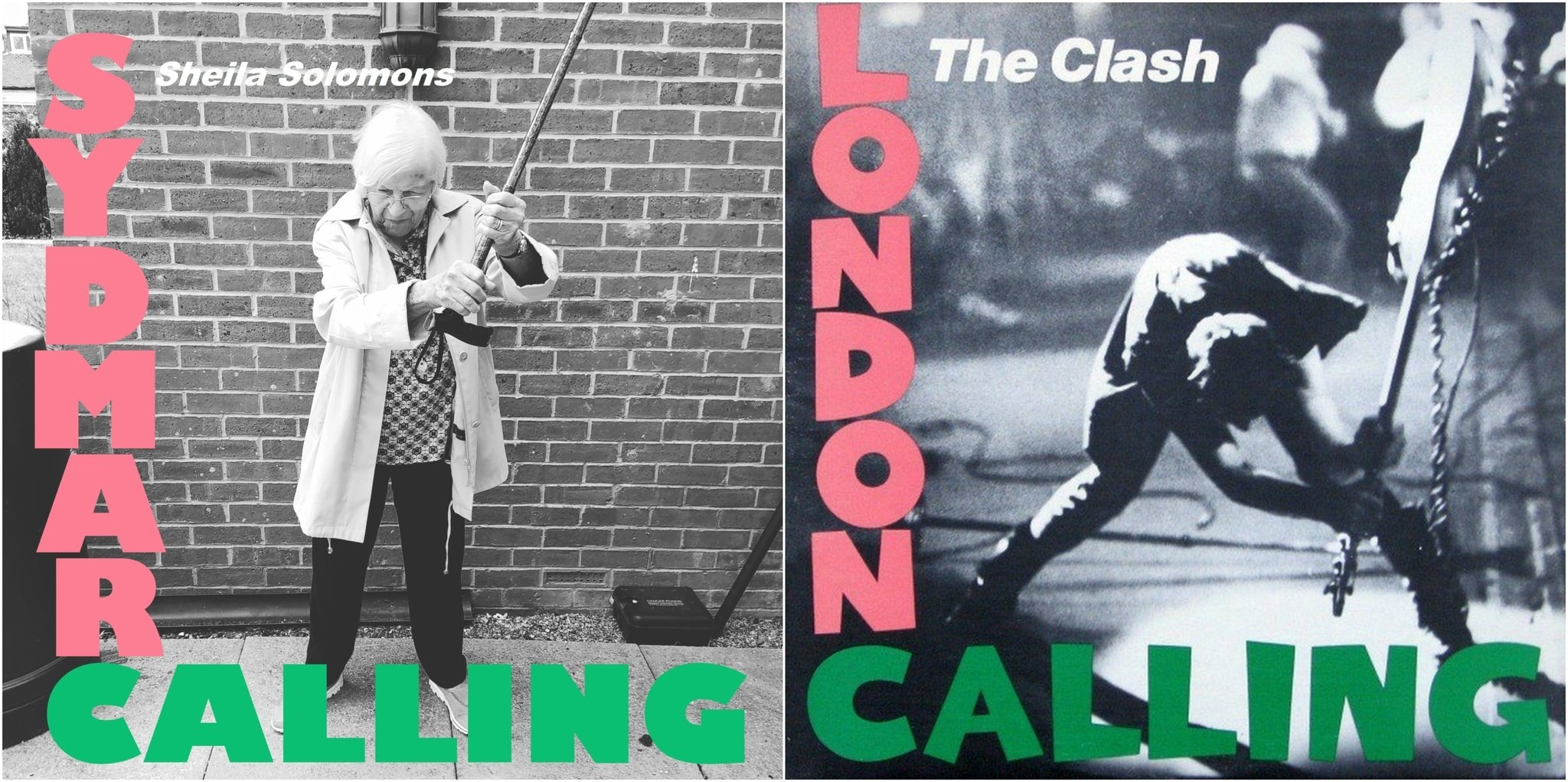 An elderly woman recreating The Clash's London Calling album cover
