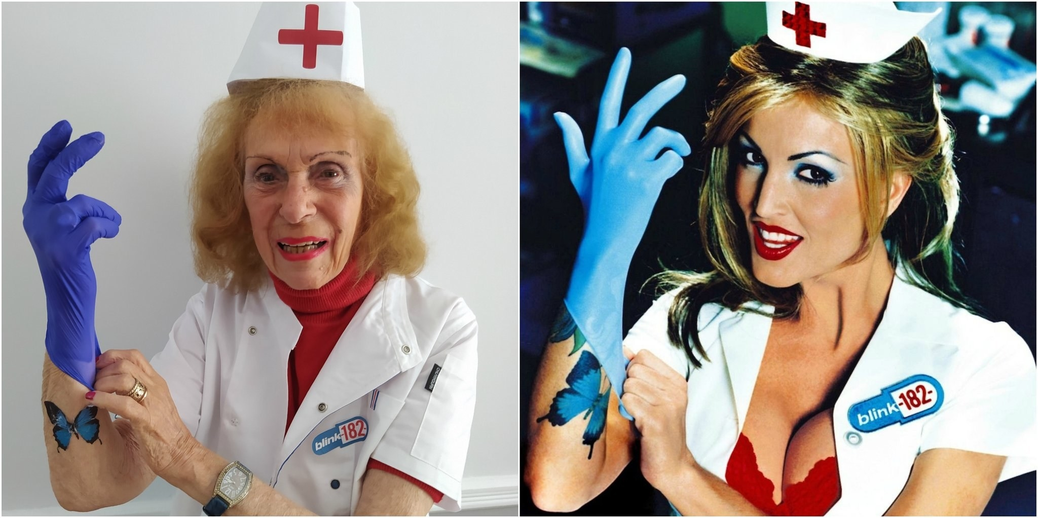 An elderly woman recreating Blink-182's Enema of State album cover