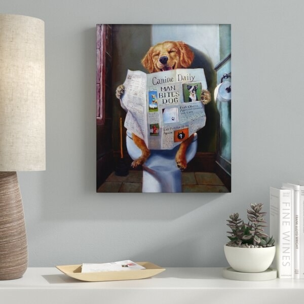 'Dog Reading the Newspaper On Toilet' graphic art print
