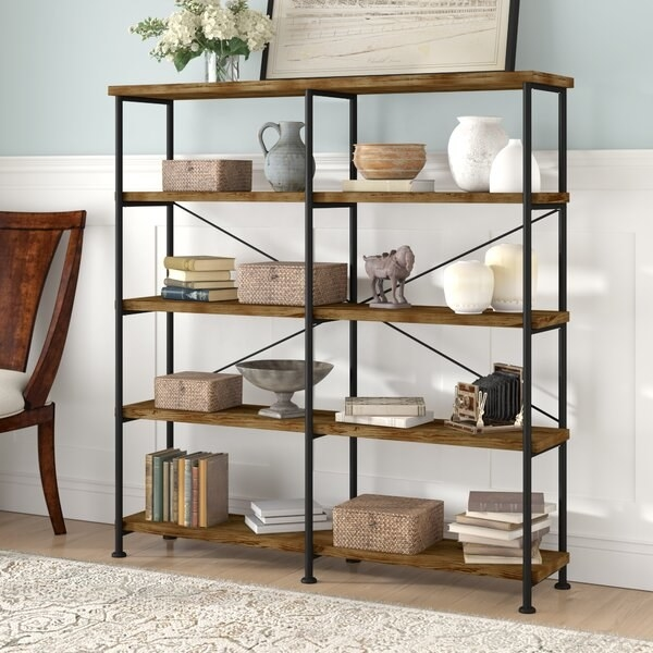 Cifuentes Cifuentes Bookcase with four shelves in antique nutmeg