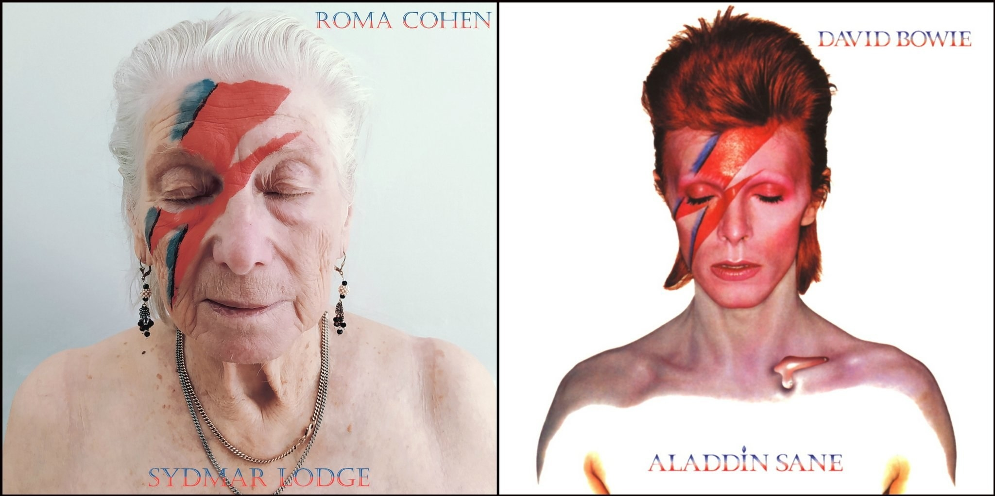 An elderly woman recreating David Bowie's Aladdin Sane album cover