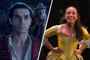 """On the left, Aladdin stands with Abu on his shoulder in the live-action """"Aladdin,"""" and on the left, Jasmine Cephas Jones sings """"the Schuyler sisters"""" as peggy in """"hamilton"""""""